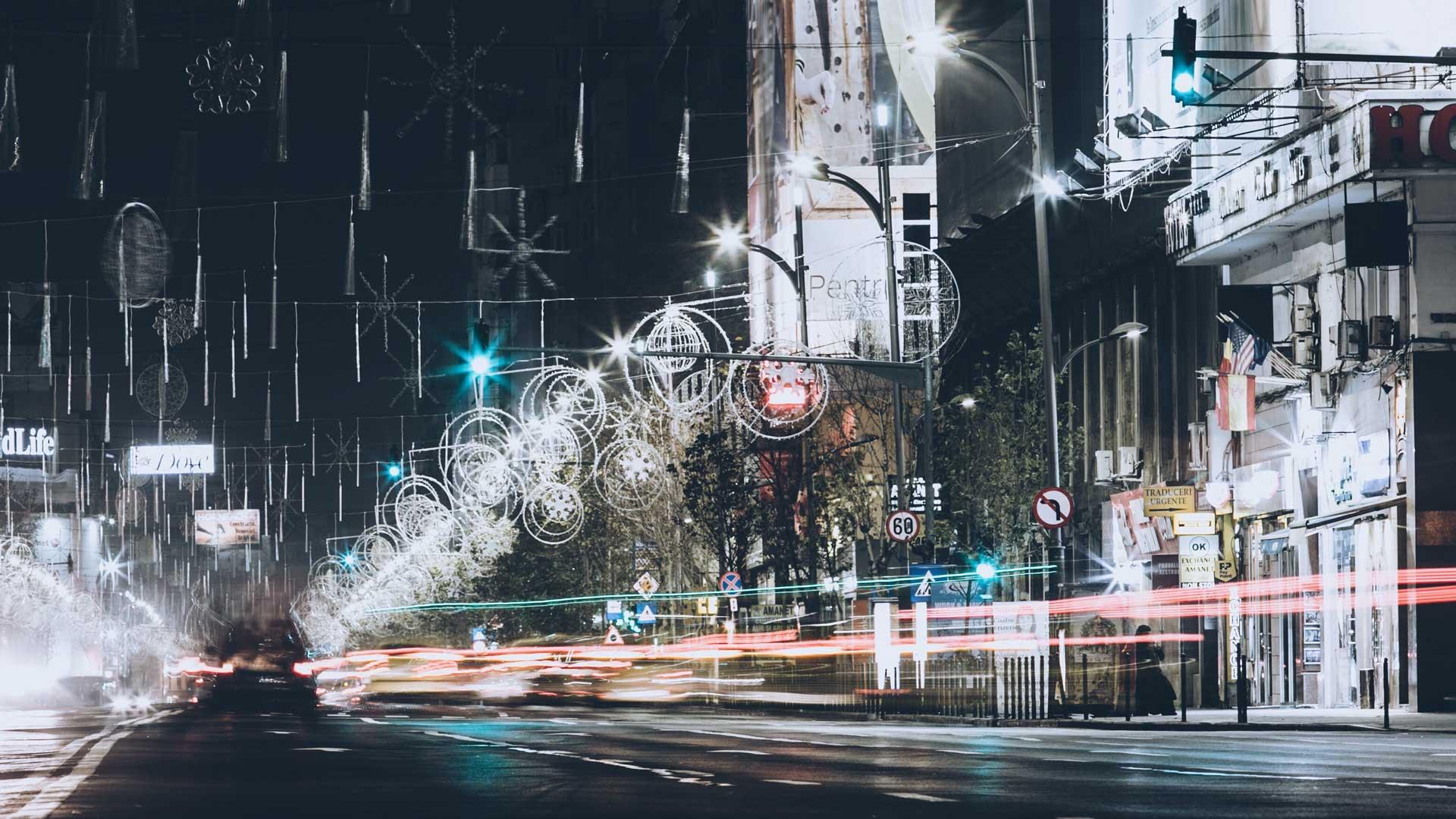 Bucharest Street At Night