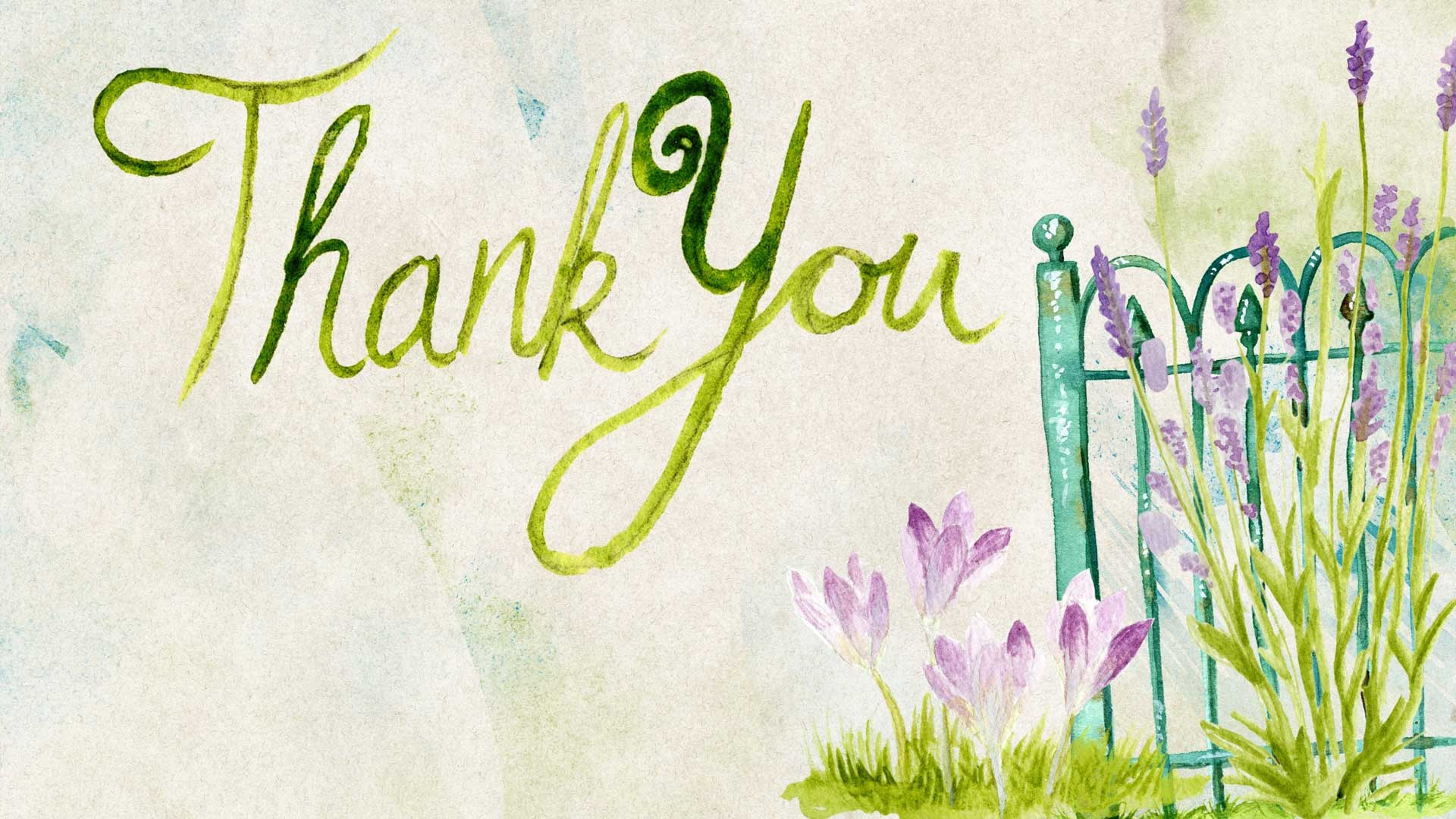 gratitude thank you water painting lavender and fence