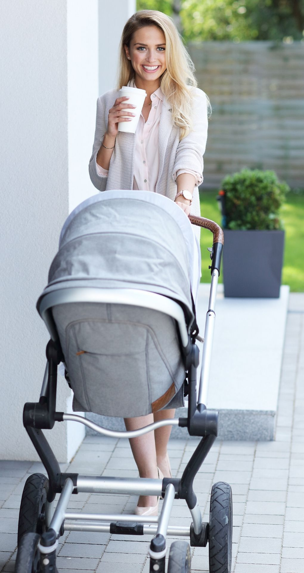 mother with baby buggy
